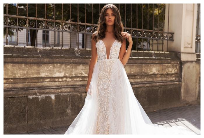 Aurelia bardzo stylowa suknia w kroju rybka w opcji z odpinanym trenem